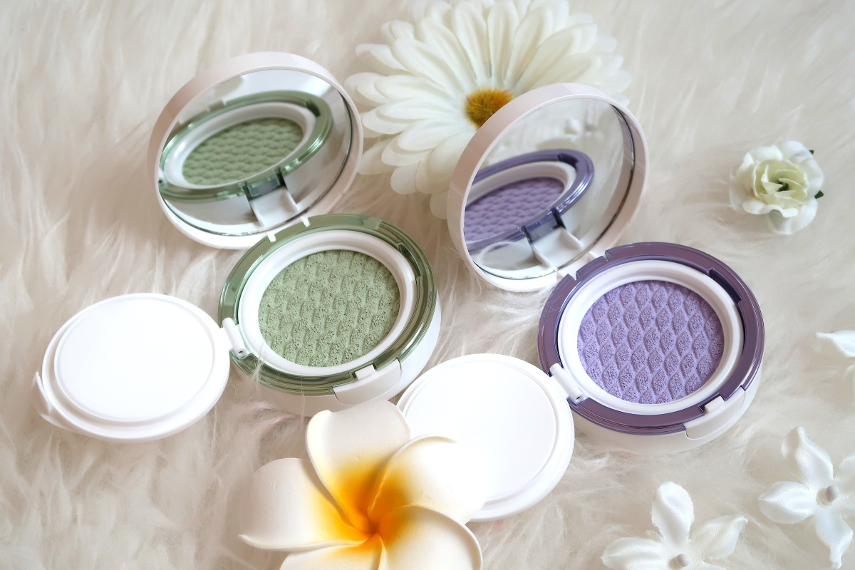 Review + Swatches: Laneige SKIN VEIL BASE CUSHION No.40 Light Purple + No.60 Light Green | Kbeauty | Singapore